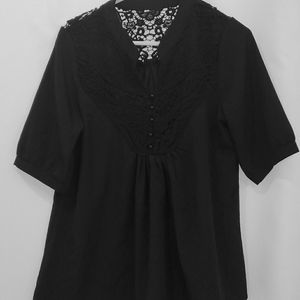 Black 3/4 sleeve blouse with lace detailing